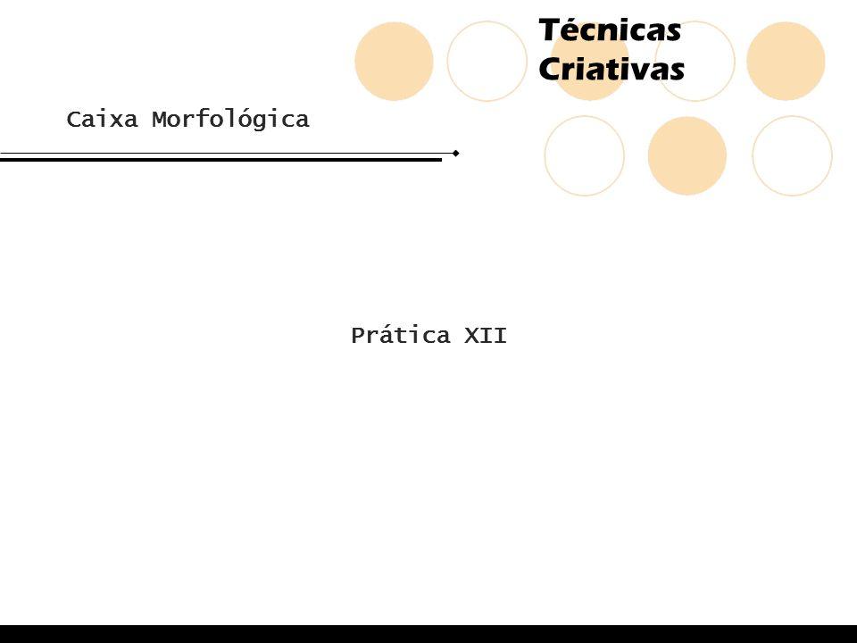 Técnicas Criativas Caixa Morfológica Prática XII