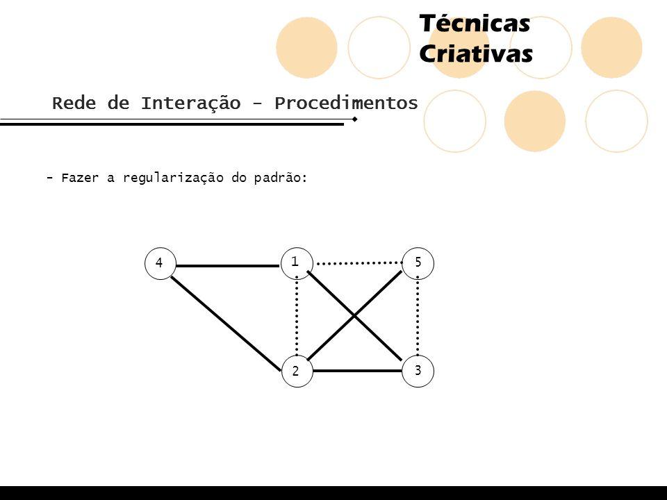 Técnicas Criativas Rede de Interação - Procedimentos - Fazer a regularização do padrão: 2 1 5 4 3
