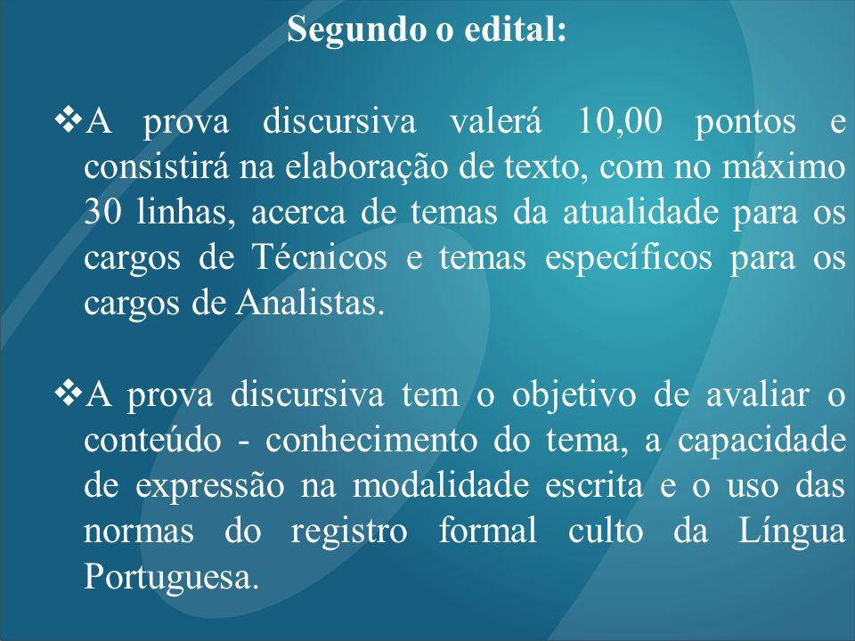 Segundo o edital: A prova discursiva valerá 10,00 pontos e consistirá na elaboração de texto, com no máximo 30 linhas, acerca de temas da atualidade p