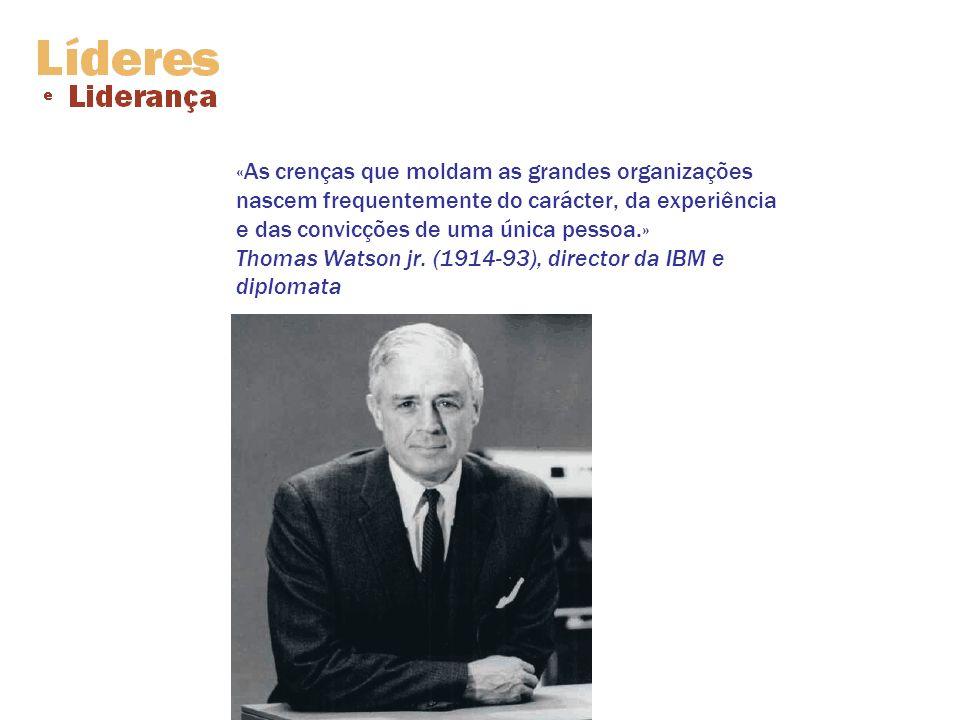 «As crenças que moldam as grandes organizações nascem frequentemente do carácter, da experiência e das convicções de uma única pessoa.» Thomas Watson