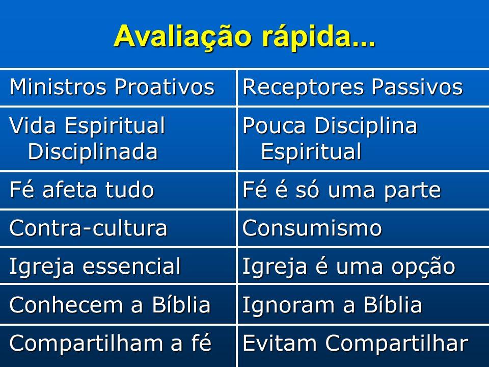 Avaliação rápida... Ministros Proativos Vida Espiritual Disciplinada Fé afeta tudo Contra-cultura Igreja essencial Conhecem a Bíblia Compartilham a fé