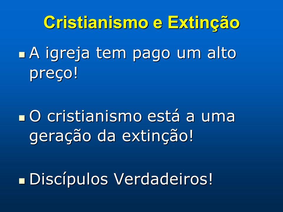 Cristianismo e Extinção A igreja tem pago um alto preço! A igreja tem pago um alto preço! O cristianismo está a uma geração da extinção! O cristianism