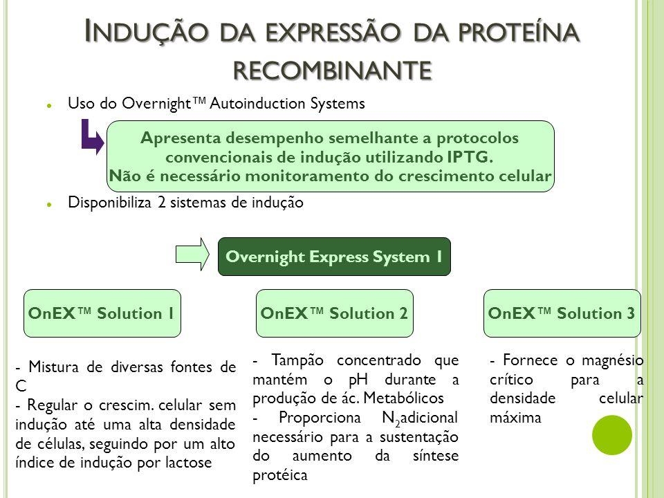 I NDUÇÃO DA EXPRESSÃO DA PROTEÍNA RECOMBINANTE Uso do Overnight Autoinduction Systems Disponibiliza 2 sistemas de indução Apresenta desempenho semelha