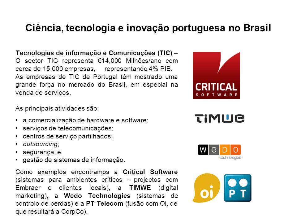 Ciência, tecnologia e inovação portuguesa no Brasil Tecnologias de informação e Comunicações (TIC) – O sector TIC representa 14,000 Milhões/ano com cerca de 15.000 empresas, representando 4% PIB.