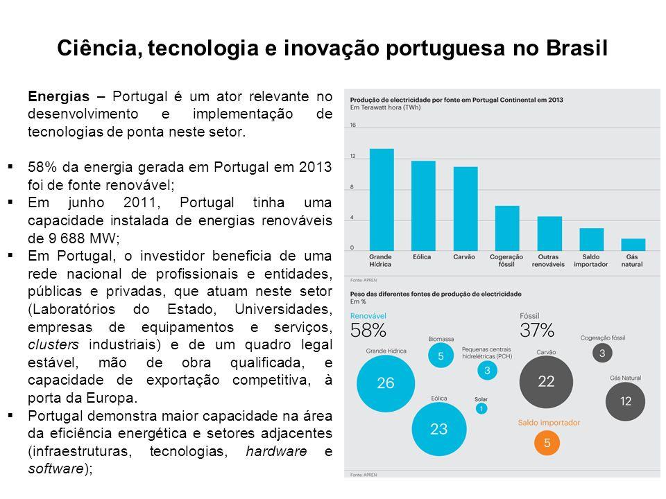 Ciência, tecnologia e inovação portuguesa no Brasil Energias – Portugal é um ator relevante no desenvolvimento e implementação de tecnologias de ponta