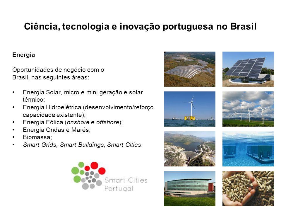 Ciência, tecnologia e inovação portuguesa no Brasil Energia Oportunidades de negócio com o Brasil, nas seguintes áreas: Energia Solar, micro e mini geração e solar térmico; Energia Hidroelétrica (desenvolvimento/reforço capacidade existente); Energia Eólica (onshore e offshore); Energia Ondas e Marés; Biomassa; Smart Grids, Smart Buildings, Smart Cities.