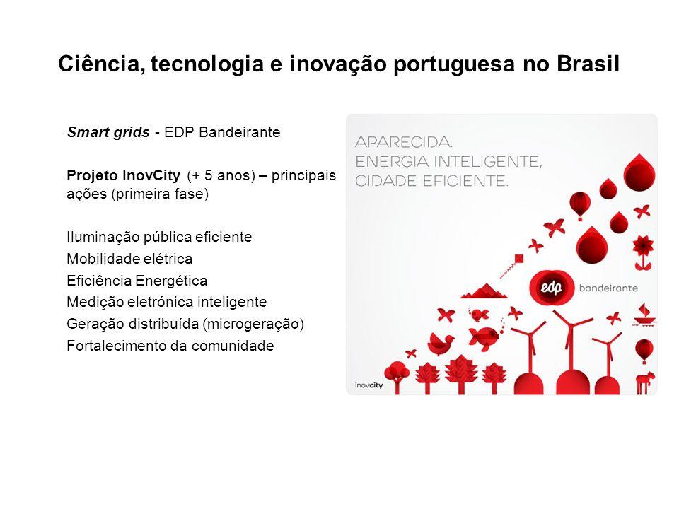 Ciência, tecnologia e inovação portuguesa no Brasil Smart grids - EDP Bandeirante Projeto InovCity (+ 5 anos) – principais ações (primeira fase) Iluminação pública eficiente Mobilidade elétrica Eficiência Energética Medição eletrónica inteligente Geração distribuída (microgeração) Fortalecimento da comunidade