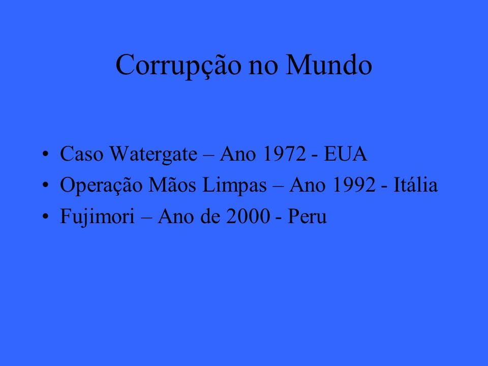 Corrupção no Mundo Caso Watergate – Ano 1972 - EUA Operação Mãos Limpas – Ano 1992 - Itália Fujimori – Ano de 2000 - Peru