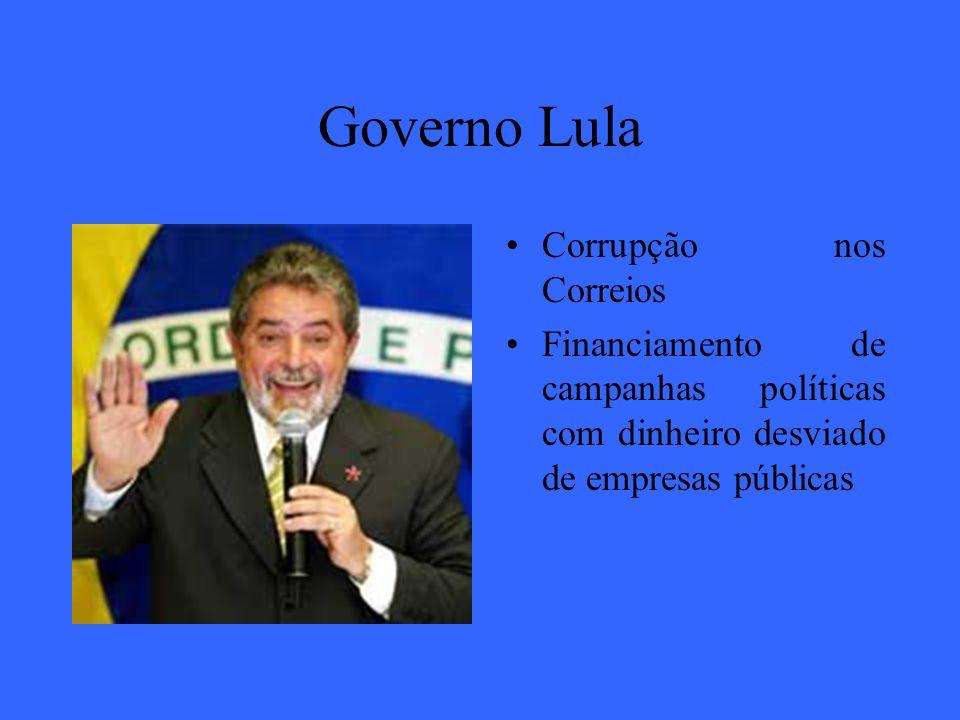 Governo Lula Corrupção nos Correios Financiamento de campanhas políticas com dinheiro desviado de empresas públicas