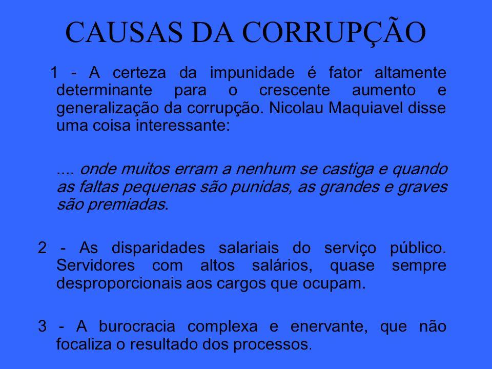 CAUSAS DA CORRUPÇÃO 1 - A certeza da impunidade é fator altamente determinante para o crescente aumento e generalização da corrupção. Nicolau Maquiave