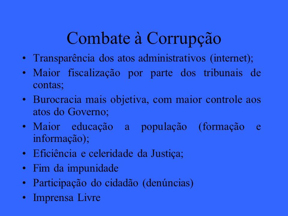 Combate à Corrupção Transparência dos atos administrativos (internet); Maior fiscalização por parte dos tribunais de contas; Burocracia mais objetiva,