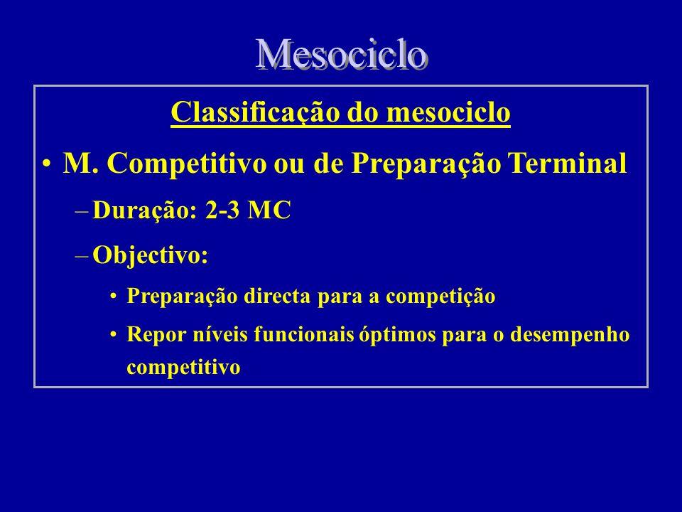 Mesociclo Classificação do mesociclo M. Pré-Competitivo (controlo e preparação) –Duração: 2-3 MC –Objectivos: Progressão do estado de preparação espec