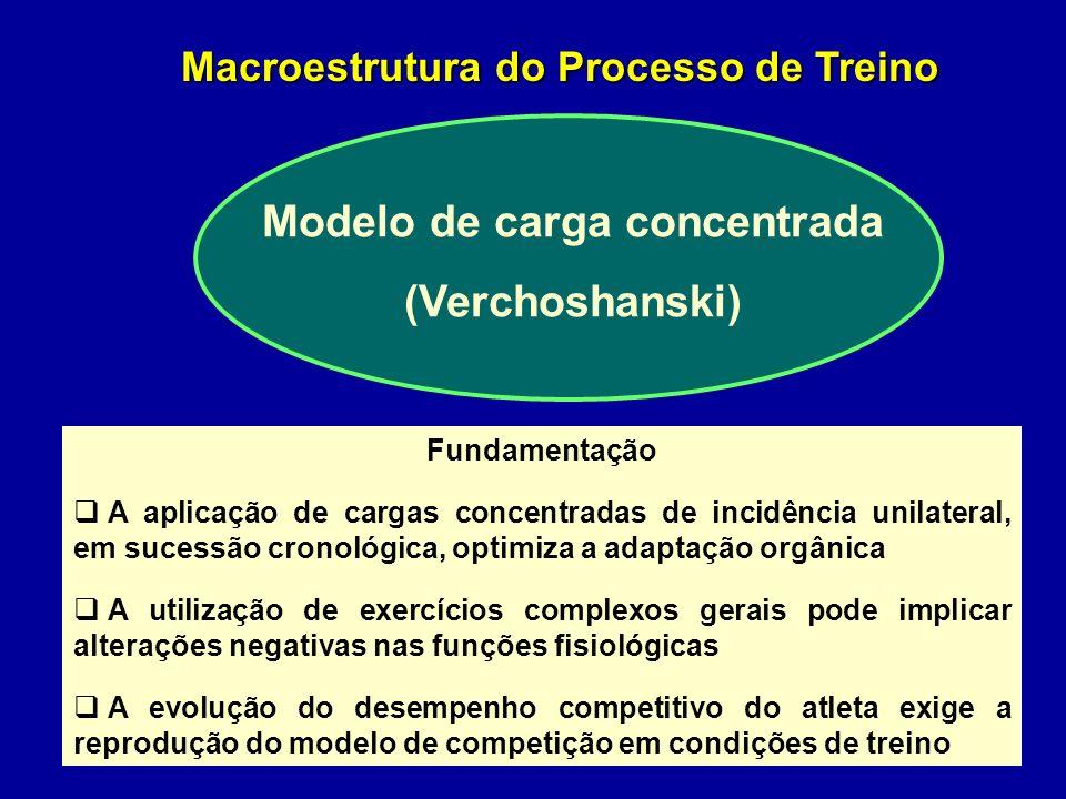 Modelo estrutural de cargas intensas (Tschiene) Estruturação do Macrociclo Forma ondulatória marcante Utilização prioritária de exercícios especiais e