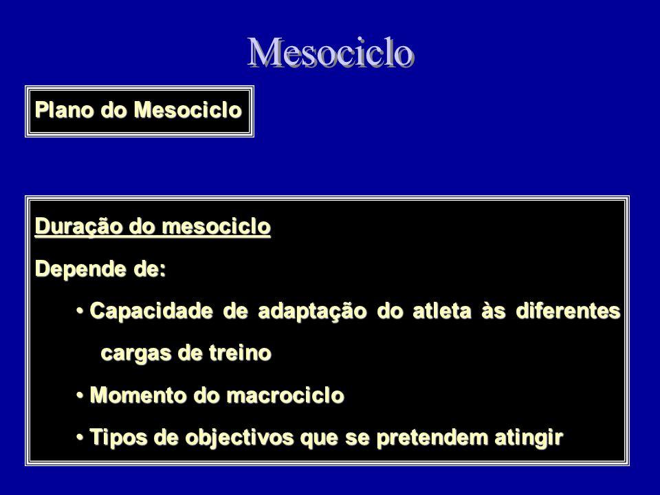 Mesociclo Período de 2 a 6 semanas onde se processa a organização e sucessão óptimas de microciclos de características diferenciadas, definindo as eta