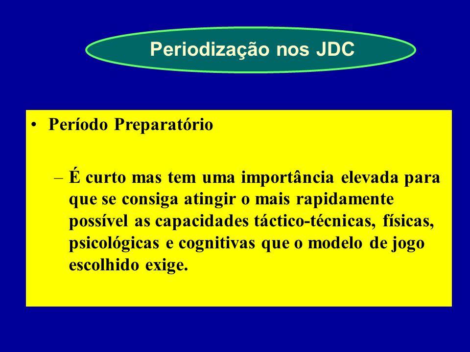 Periodização nos JDC As características dos JDC indicam que as componentes táctico-técnica e cognitiva são as que direccionam fundamentalmente o proce