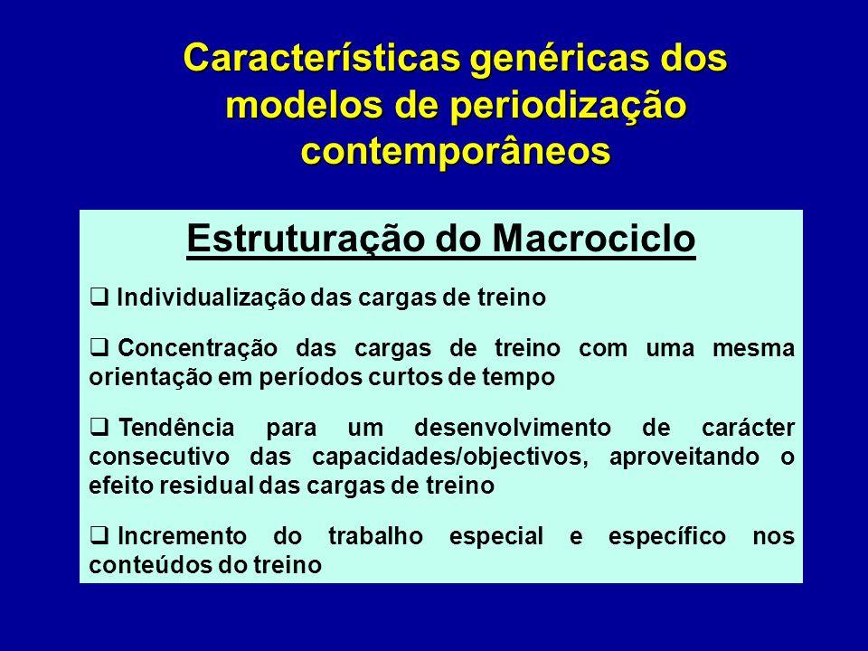 Macroestrutura do Processo de Treino Modelo tradicional – Aspectos criticados Duração e volume relativo excessivos de preparação geral Desenvolvimento