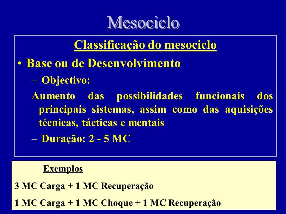 Mesociclo Classificação do mesociclo Base ou de Desenvolvimento – Objectivo: Aumento das possibilidades funcionais dos principais sistemas, assim como das aquisições técnicas, tácticas e mentais – Duração: 2 - 5 MC Exemplos 3 MC Carga + 1 MC Recuperação 1 MC Carga + 1 MC Choque + 1 MC Recuperação