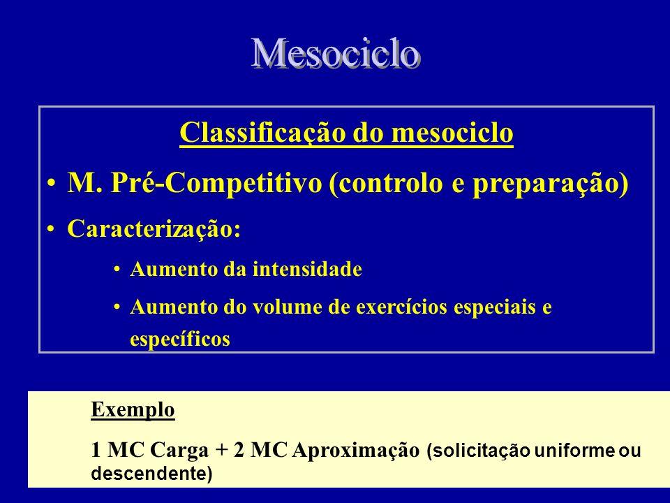Mesociclo Classificação do mesociclo Base ou de Desenvolvimento – Objectivo: Aumento das possibilidades funcionais dos principais sistemas, assim como