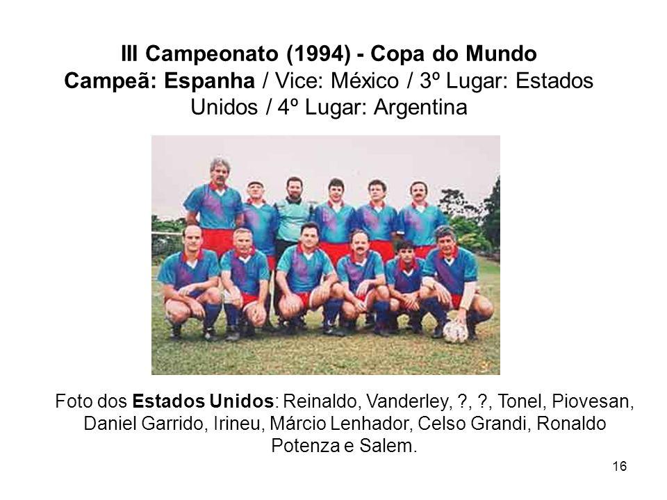 16 III Campeonato (1994) - Copa do Mundo Campeã: Espanha / Vice: México / 3º Lugar: Estados Unidos / 4º Lugar: Argentina Foto dos Estados Unidos: Rein