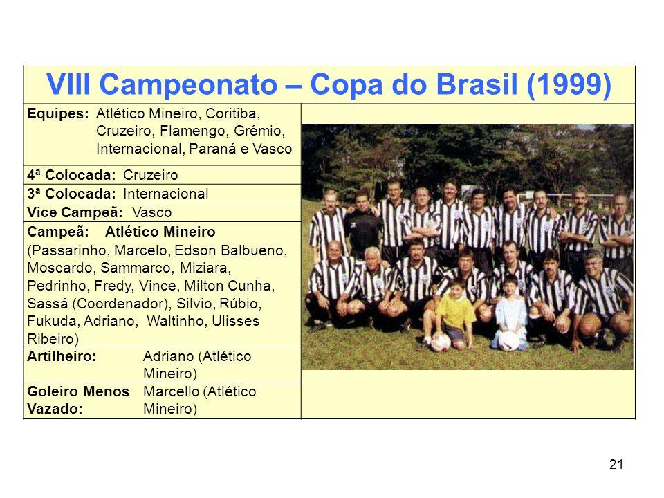 21 VIII Campeonato – Copa do Brasil (1999) Equipes:Atlético Mineiro, Coritiba, Cruzeiro, Flamengo, Grêmio, Internacional, Paraná e Vasco 4ª Colocada:C