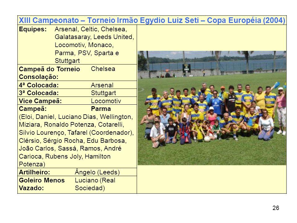 26 XIII Campeonato – Torneio Irmão Egydio Luiz Seti – Copa Européia (2004) Equipes:Arsenal, Celtic, Chelsea, Galatasaray, Leeds United, Locomotiv, Mon