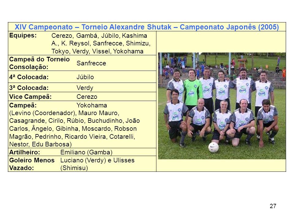 27 XIV Campeonato – Torneio Alexandre Shutak – Campeonato Japonês (2005) Equipes: Cerezo, Gambá, Júbilo, Kashima A., K. Reysol, Sanfrecce, Shimizu, To