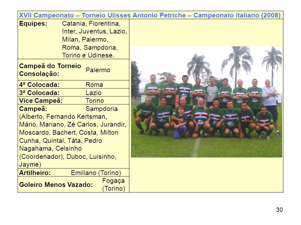 30 XVII Campeonato – Torneio Ulisses Antonio Petriche – Campeonato Italiano (2008) Equipes: Catania, Fiorentina, Inter, Juventus, Lazio, Milan, Palerm