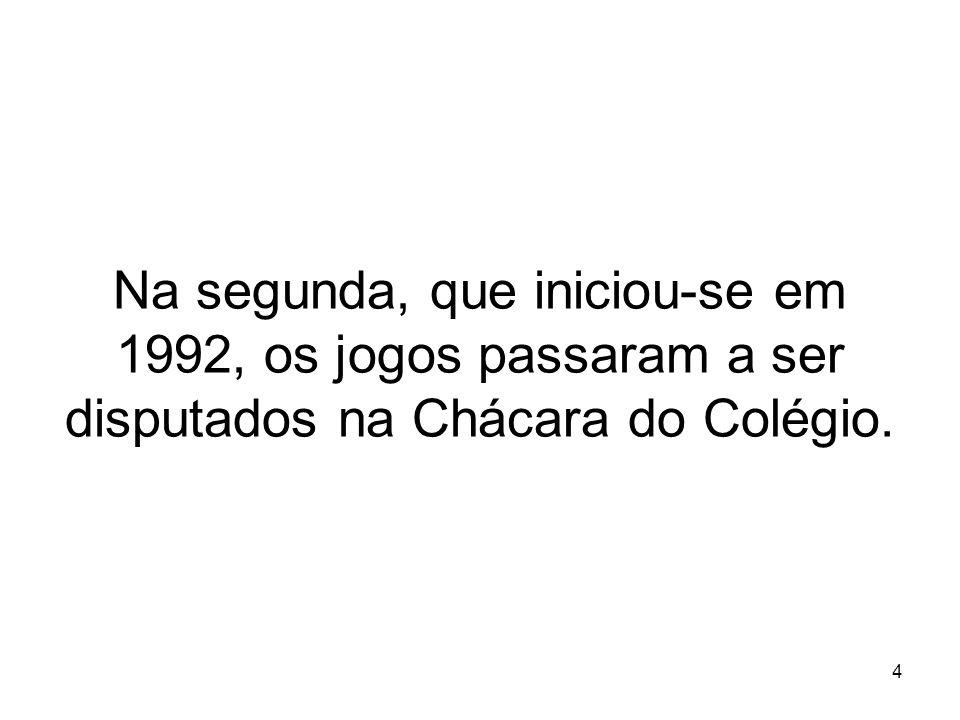 4 Na segunda, que iniciou-se em 1992, os jogos passaram a ser disputados na Chácara do Colégio.