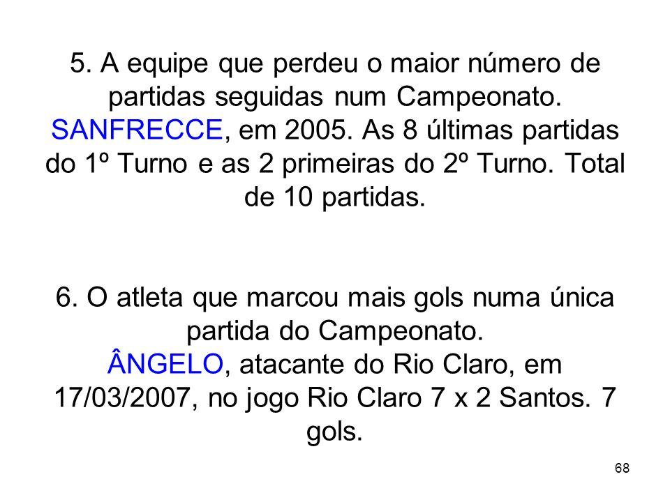 68 5. A equipe que perdeu o maior número de partidas seguidas num Campeonato. SANFRECCE, em 2005. As 8 últimas partidas do 1º Turno e as 2 primeiras d