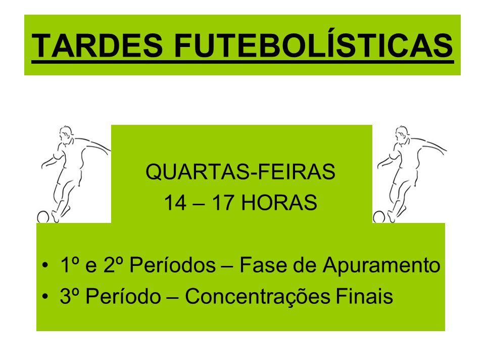 TARDES FUTEBOLÍSTICAS QUARTAS-FEIRAS 14 – 17 HORAS 1º e 2º Períodos – Fase de Apuramento 3º Período – Concentrações Finais