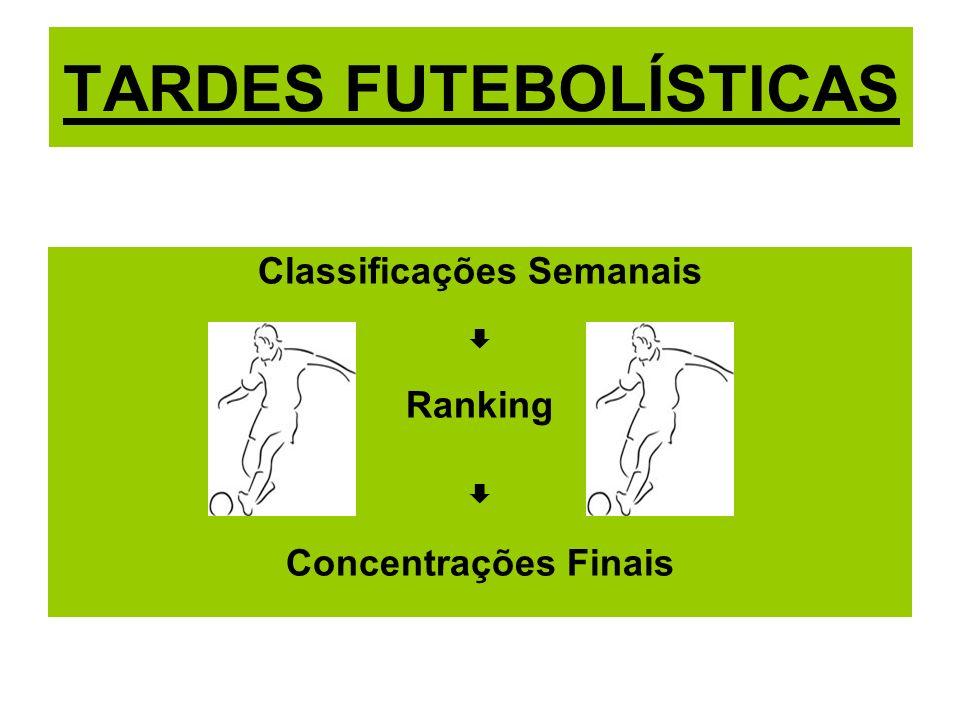 TARDES FUTEBOLÍSTICAS Classificações Semanais Ranking Concentrações Finais