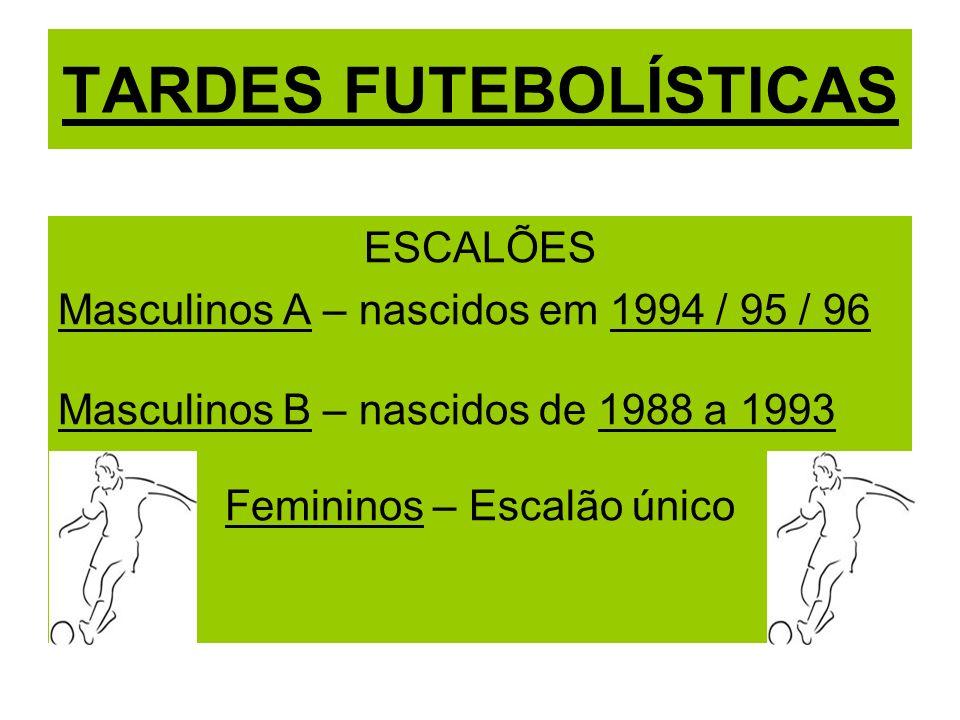 TARDES FUTEBOLÍSTICAS ESCALÕES Masculinos A – nascidos em 1994 / 95 / 96 Masculinos B – nascidos de 1988 a 1993 Femininos – Escalão único