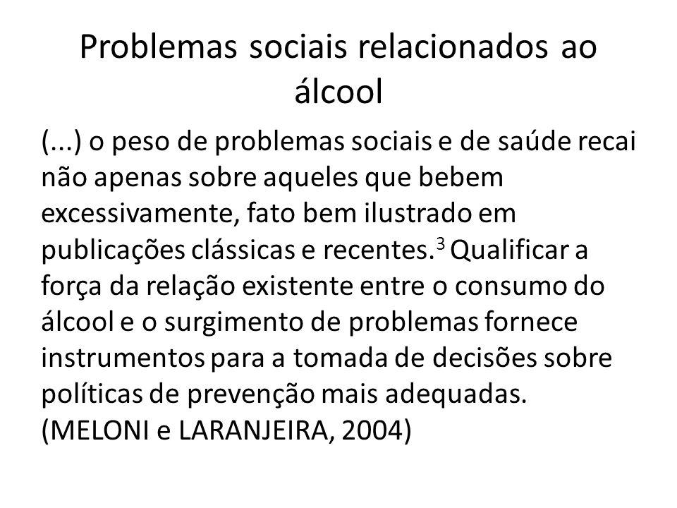 (...) o peso de problemas sociais e de saúde recai não apenas sobre aqueles que bebem excessivamente, fato bem ilustrado em publicações clássicas e re