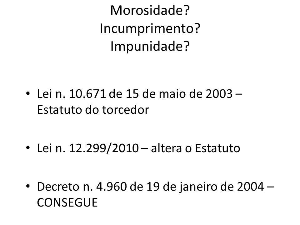 Morosidade? Incumprimento? Impunidade? Lei n. 10.671 de 15 de maio de 2003 – Estatuto do torcedor Lei n. 12.299/2010 – altera o Estatuto Decreto n. 4.