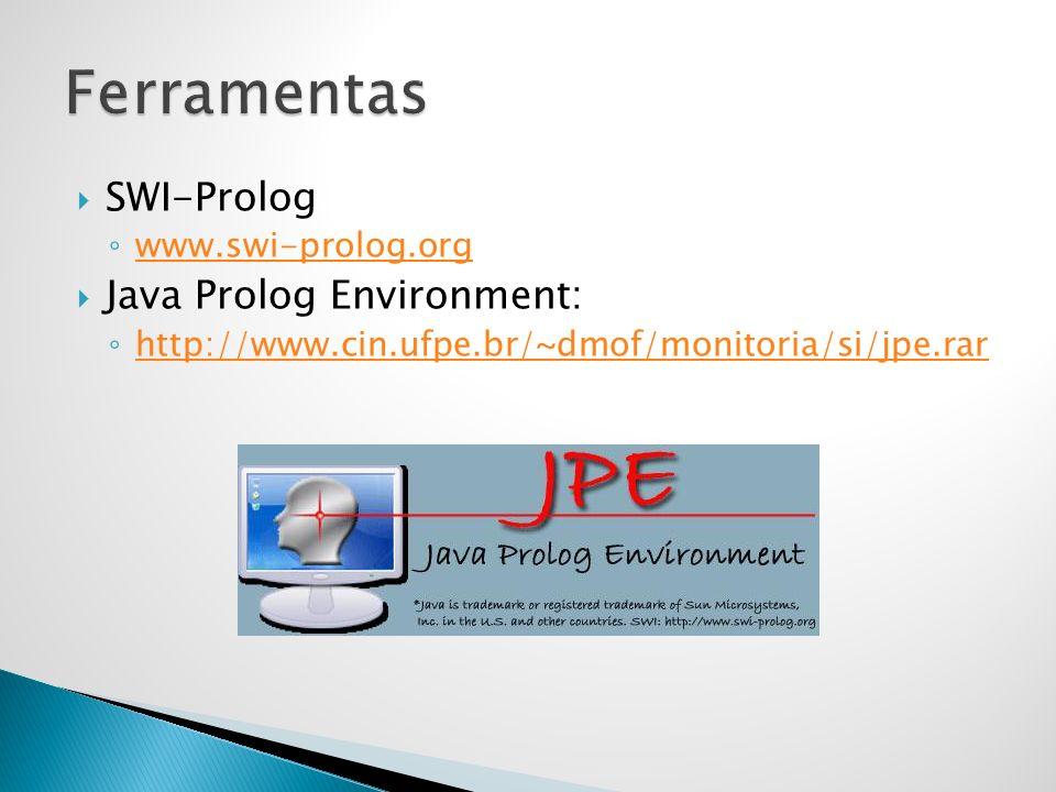 SWI-Prolog www.swi-prolog.org Java Prolog Environment: http://www.cin.ufpe.br/~dmof/monitoria/si/jpe.rar