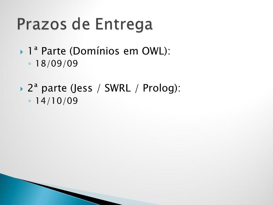 1ª Parte (Domínios em OWL): 18/09/09 2ª parte (Jess / SWRL / Prolog): 14/10/09