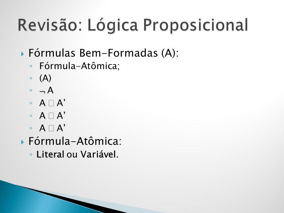 Fórmulas Bem-Formadas (A): Fórmula-Atômica; (A) A A A A Fórmula-Atômica: Literal ou Variável.