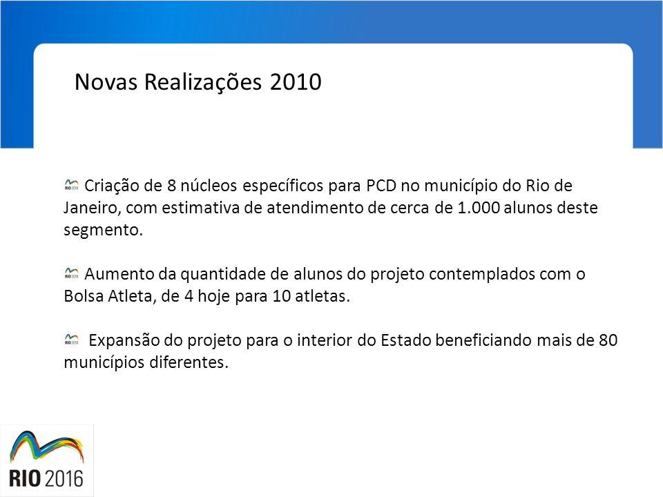 Novas Realizações 2010 Criação de 8 núcleos específicos para PCD no município do Rio de Janeiro, com estimativa de atendimento de cerca de 1.000 aluno