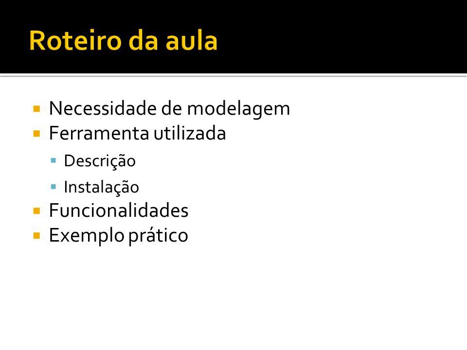 Necessidade de modelagem Ferramenta utilizada Descrição Instalação Funcionalidades Exemplo prático