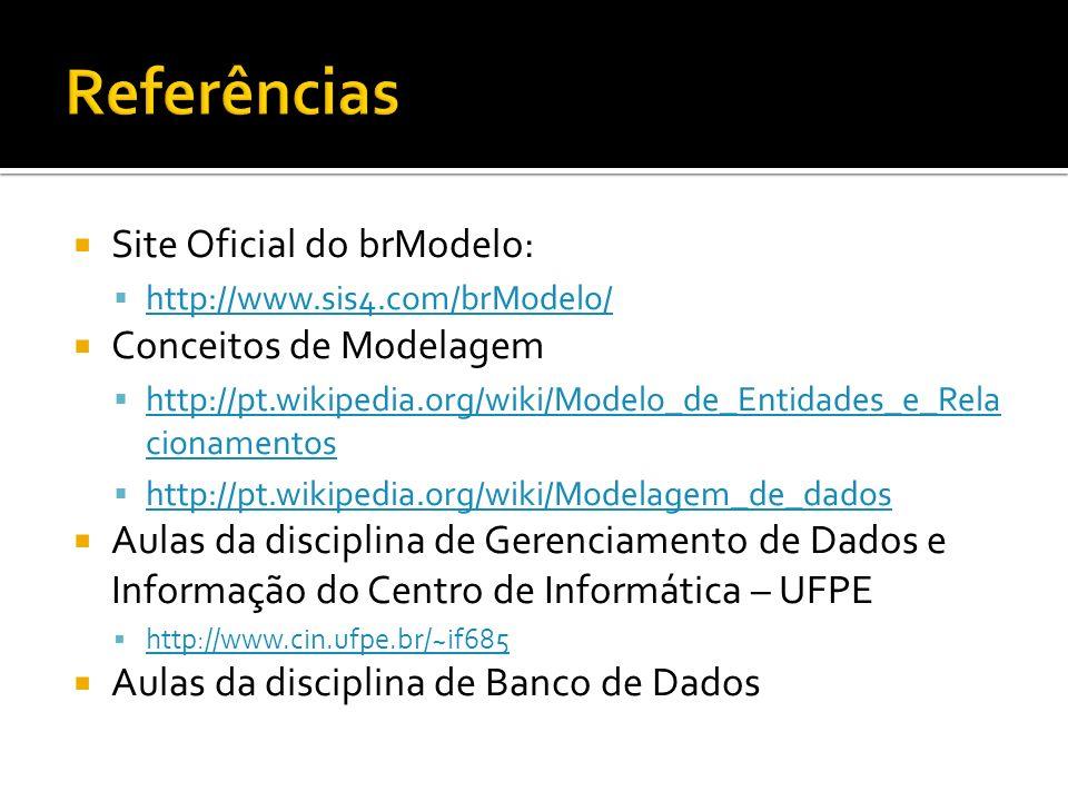 Site Oficial do brModelo: http://www.sis4.com/brModelo/ Conceitos de Modelagem http://pt.wikipedia.org/wiki/Modelo_de_Entidades_e_Rela cionamentos htt