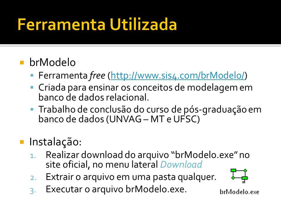 brModelo Ferramenta free (http://www.sis4.com/brModelo/)http://www.sis4.com/brModelo/ Criada para ensinar os conceitos de modelagem em banco de dados