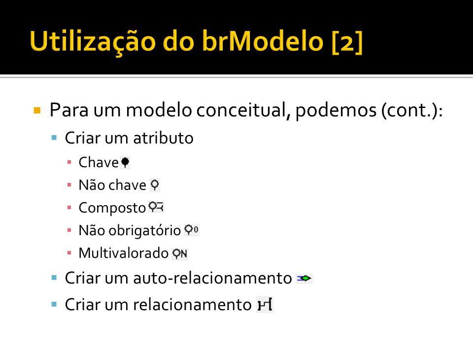 Para um modelo conceitual, podemos (cont.): Criar um atributo Chave Não chave Composto Não obrigatório Multivalorado Criar um auto-relacionamento Cria