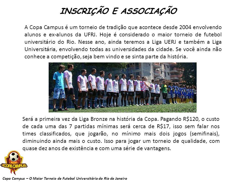 Copa Campus – O Maior Torneio de Futebol Universitário do Rio de Janeiro INSCRIÇÃO E ASSOCIAÇÃO A Copa Campus é um torneio de tradição que acontece de