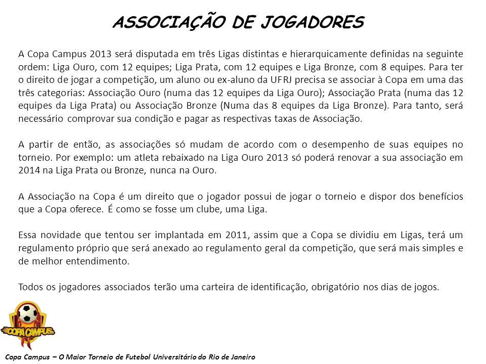 Copa Campus – O Maior Torneio de Futebol Universitário do Rio de Janeiro INSCRIÇÃO E ASSOCIAÇÃO - A taxa de associação bronze da Copa Campus 2013 será de R$120 por jogador.