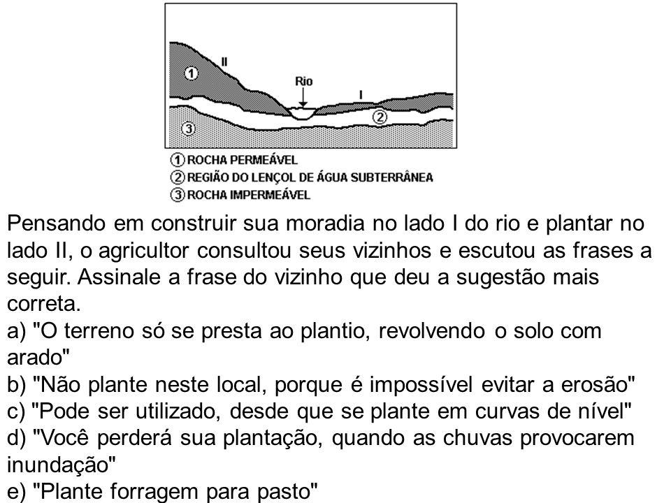 Pensando em construir sua moradia no lado I do rio e plantar no lado II, o agricultor consultou seus vizinhos e escutou as frases a seguir. Assinale a