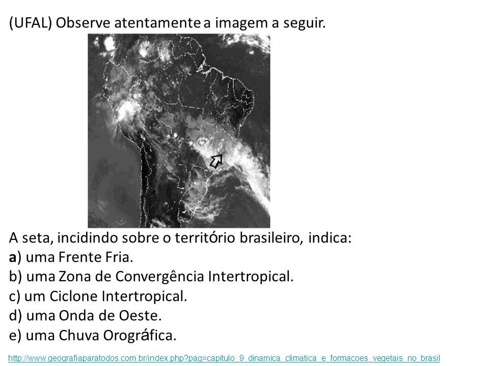 (UFAL) Observe atentamente a imagem a seguir. A seta, incidindo sobre o territ ó rio brasileiro, indica: a) uma Frente Fria. b) uma Zona de Convergênc