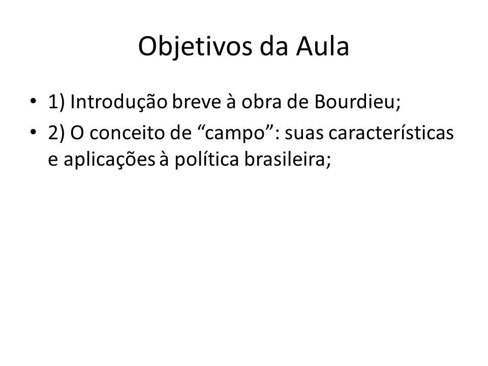 Objetivos da Aula 1) Introdução breve à obra de Bourdieu; 2) O conceito de campo: suas características e aplicações à política brasileira;