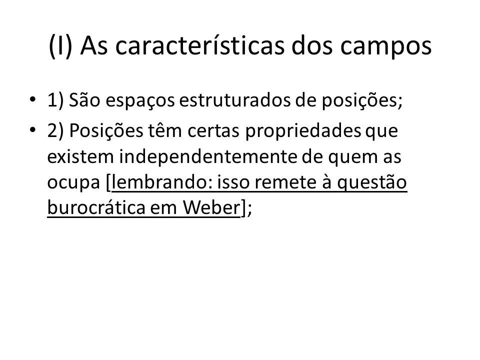 (I) As características dos campos 1) São espaços estruturados de posições; 2) Posições têm certas propriedades que existem independentemente de quem as ocupa [lembrando: isso remete à questão burocrática em Weber];