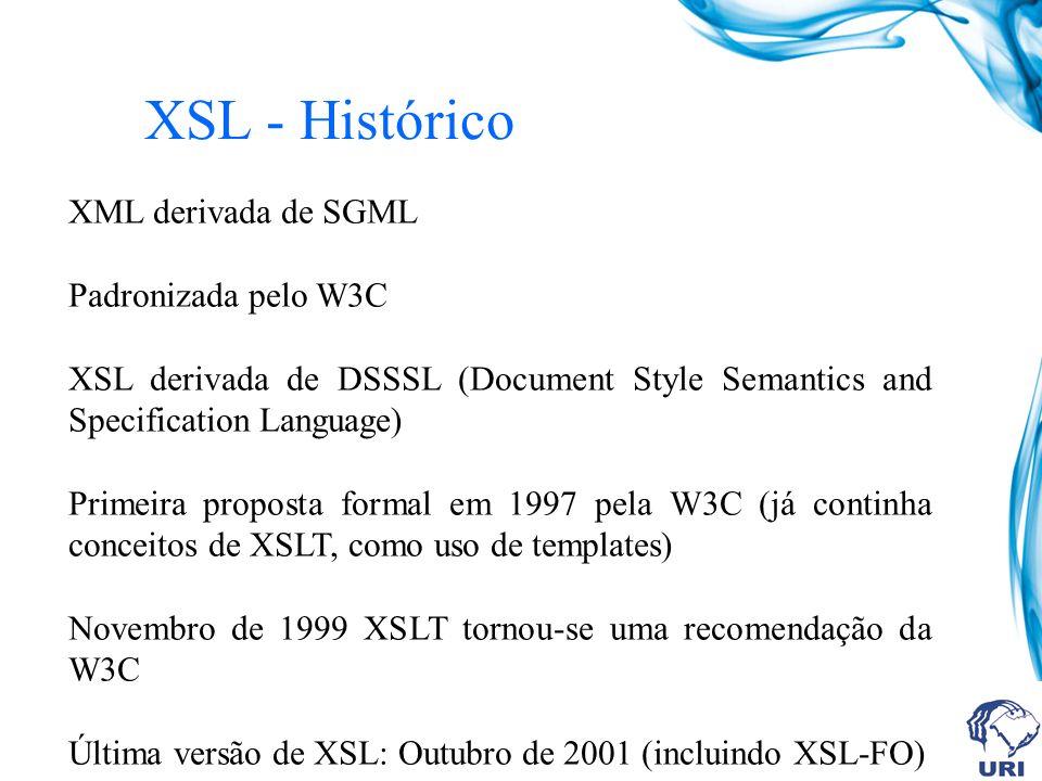 XSL - Histórico XML derivada de SGML Padronizada pelo W3C XSL derivada de DSSSL (Document Style Semantics and Specification Language) Primeira proposta formal em 1997 pela W3C (já continha conceitos de XSLT, como uso de templates) Novembro de 1999 XSLT tornou-se uma recomendação da W3C Última versão de XSL: Outubro de 2001 (incluindo XSL-FO)