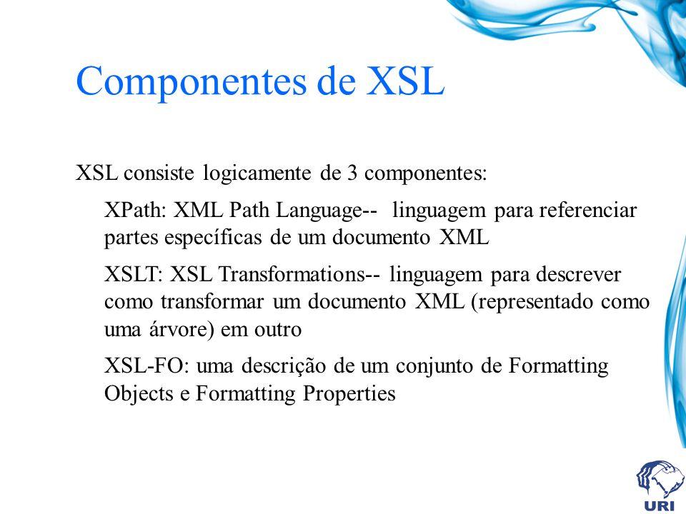 Componentes de XSL XSL consiste logicamente de 3 componentes: XPath: XML Path Language-- linguagem para referenciar partes específicas de um documento XML XSLT: XSL Transformations-- linguagem para descrever como transformar um documento XML (representado como uma árvore) em outro XSL-FO: uma descrição de um conjunto de Formatting Objects e Formatting Properties